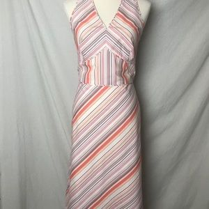 Ann Taylor Dresses - Ann Taylor Sz10  Stripe Lined A-Lined Halter Dress